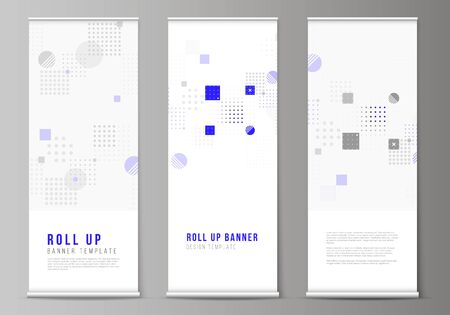 The vector illustration of the editable layout of roll up banner stands, vertical flyers, flags design business templates. Abstract vector background with fluid geometric shapes. Vetores