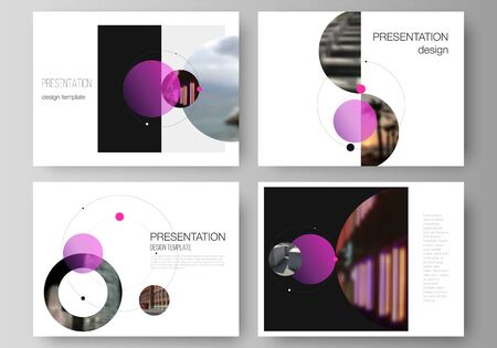 The minimalistic vector layout of the presentation slides design business templates. Simple design futuristic concept. Creative background with circles and round shapes that form planets and stars. Иллюстрация