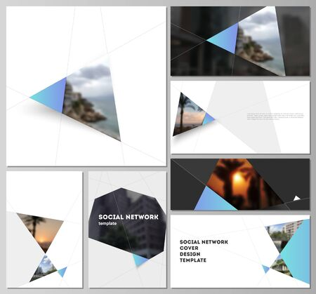 The minimalistic abstract vector layouts of modern social network mockups in popular formats. Creative modern background with blue triangles and triangular shapes. Simple design decoration.