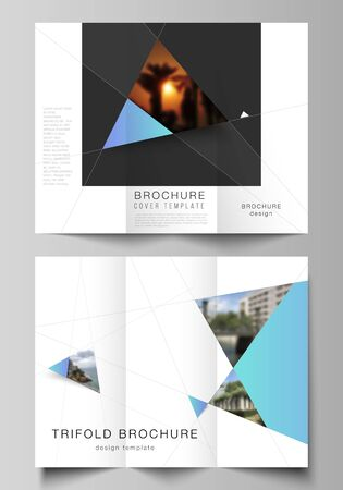 The minimal vector layouts. Modern creative covers design templates for trifold brochure or flyer. Creative modern background with blue triangles and triangular shapes. Simple design decoration.