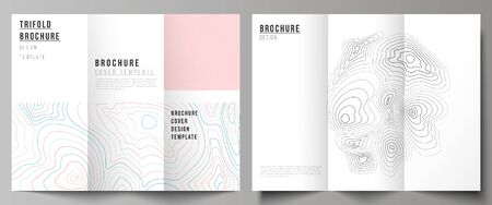 The minimal vector illustration of editable layouts. Modern creative covers design templates for trifold brochure or flyer. Topographic contour map, abstract monochrome background.