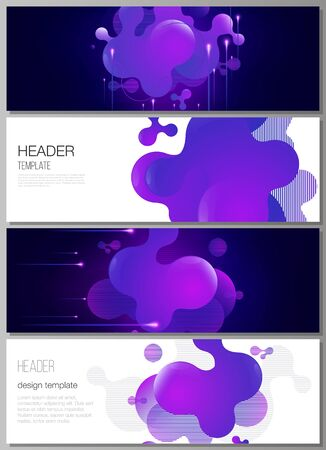 The minimalistic vector illustration of the editable layout of headers, banner design templates. Black background with fluid gradient, liquid blue colored geometric element.