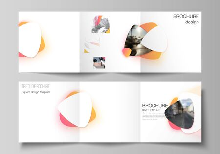 The minimal vector editable layout of square format covers design templates for trifold brochure, flyer, magazine. Yellow color gradient abstract dynamic shapes, colorful geometric template design. Illustration