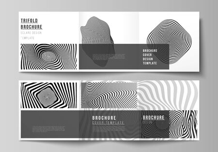 Minimal vector editable layout of square format covers design templates for trifold brochure, flyer, magazine. Abstract 3D geometrical background with optical illusion black and white design pattern.