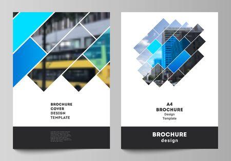 Układ wektorowy makiet nowoczesnych okładek w formacie A4 dla broszur, czasopism, ulotek, broszur, raportów rocznych. Abstrakcyjny wzór geometryczny kreatywnych nowoczesne niebieskie tło z prostokątami. Ilustracje wektorowe