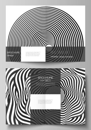 Vector layout of two A4 format modern cover mockups design templates for bifold brochure, flyer, booklet, report. Abstract 3D geometrical background with optical illusion black design pattern