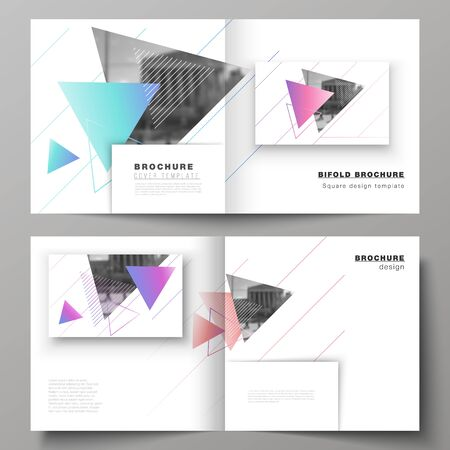 The vector illustration of editable layout of two covers templates for square design bifold brochure, magazine, flyer, booklet. Colorful polygonal background with triangles with modern memphis pattern Stock Illustratie