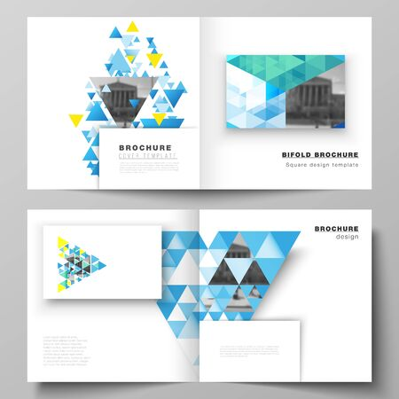 The vector illustration of editable layout of two covers templates for square design bifold brochure, magazine, flyer, booklet. Blue color polygonal background with triangles, colorful mosaic pattern.