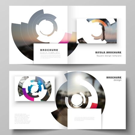 The vector layout of two covers templates for square design bifold brochure, magazine, flyer, booklet. Futuristic design circular pattern, circle elements forming geometric frame for photo