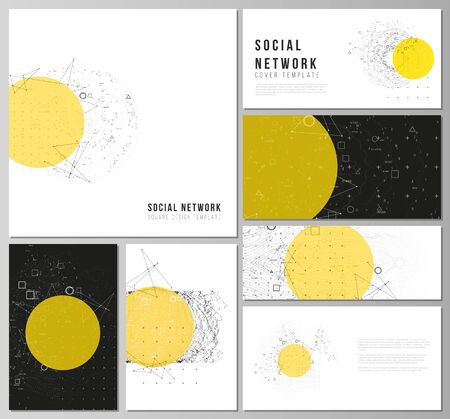 The minimalistic abstract vector layouts of modern social network mockups in popular formats. Science or technology 3d background with dynamic particles. Chemistry and science concept.