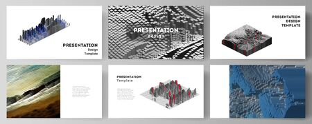 The minimalistic abstract vector layout of the presentation slides design business templates. Big data. Dynamic geometric background. Cubes pattern design with motion effect. 3d technology style. Иллюстрация