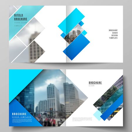 The vector illustration layout of two covers templates for square design bifold brochure, magazine, flyer, booklet. Abstract geometric pattern creative modern blue background with rectangles.