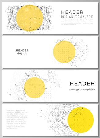 The minimalistic vector illustration of the editable layout of headers, banner design templates. Science or technology 3d background with dynamic particles. Chemistry and science concept.