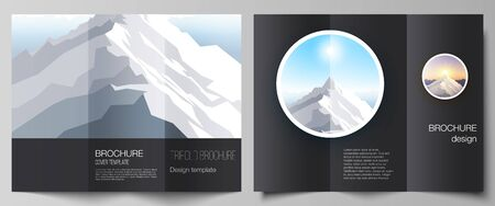 The minimal vector illustration layouts. Modern creative covers design templates for trifold brochure or flyer. Mountain illustration, outdoor adventure. Travel concept background. Flat design vector.