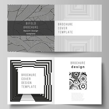 The vector layout of two covers templates for square design bifold brochure, magazine, flyer, booklet. Trendy geometric abstract background in minimalistic flat style with dynamic composition. Stock Illustratie