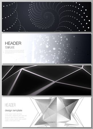 The minimalistic vector illustration of the editable layout of headers, banner design templates. 3d polygonal geometric modern design abstract background. Science or technology vector illustration. Vettoriali