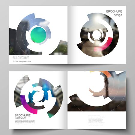 The vector layout of two covers templates for square design bifold brochure, magazine, flyer, booklet. Futuristic design circular pattern, circle elements forming geometric frame for photo.