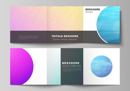 The minimal vector editable layout of square format covers design templates for trifold brochure, flyer, magazine. Abstract geometric pattern with colorful gradient business background Illustration