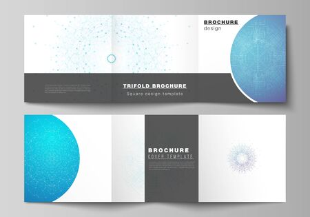 Minimal vector editable layout of square format covers design templates for trifold brochure, flyer, magazine. Big Data Visualization, geometric communication background with connected lines and dots.