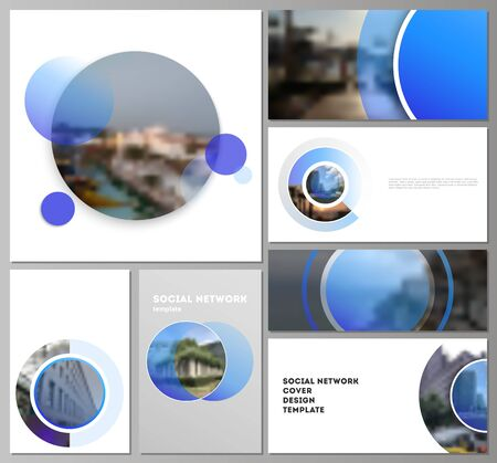 The minimalistic abstract vector illustration of the editable layouts of modern social network mockups in popular formats. Creative modern blue background with circles and round shapes. Фото со стока - 131399058