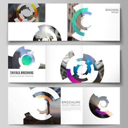 The minimal vector editable layout of square format covers design templates for trifold brochure, flyer, magazine. Futuristic design circular pattern, circle elements forming geometric frame for photo