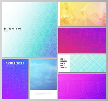 The minimalistic abstract vector illustration of the editable layouts of modern social network mockups in popular formats. Abstract geometric pattern with colorful gradient business background. Illustration