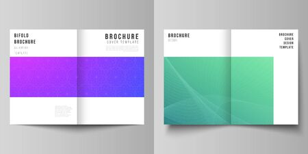 Vector layout of two A4 format modern cover mockups design templates for bifold brochure, magazine, flyer, booklet, annual report. Abstract geometric pattern with colorful gradient business background  イラスト・ベクター素材