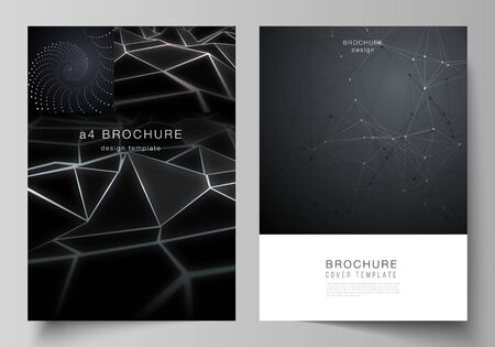 Vector layout of A4 format modern cover mockups design templates for brochure, magazine, flyer, booklet, report. 3d polygonal geometric modern design abstract background. Science or technology vector