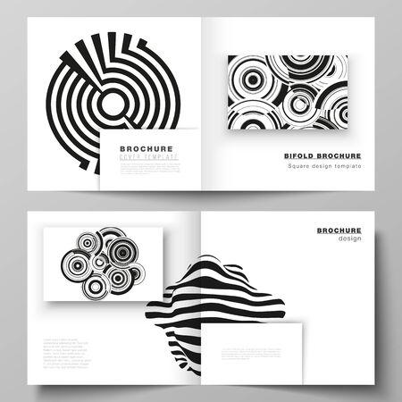 The vector layout of two covers templates for square design bifold brochure, magazine, flyer, booklet. Trendy geometric abstract background in minimalistic flat style with dynamic composition Çizim