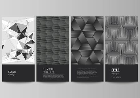 The minimalistic vector illustration of the editable layout of flyer, banner design templates. Abstract geometric triangle design background using different triangular style patterns. Иллюстрация