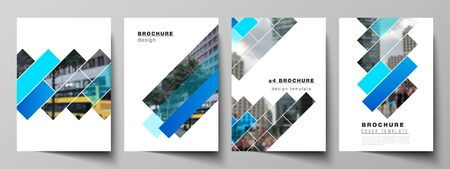 The vector layout of A4 format modern cover mockups design templates for brochure, magazine, flyer, booklet, annual report. Abstract geometric pattern creative modern blue background with rectangles.