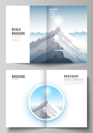Vector layout of two A4 format modern cover mockups design templates for bifold brochure, magazine, flyer. Mountain illustration, outdoor adventure. Travel concept background. Flat design vector