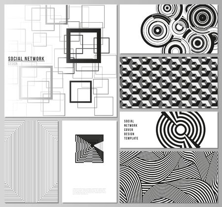 The minimalistic abstract vector illustration layouts of modern social network mockups in popular formats. Trendy geometric abstract background in minimalistic flat style with dynamic composition.