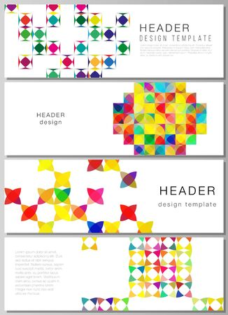 The minimalistic vector illustration of the editable layout of headers, banner design templates. Abstract background, geometric mosaic pattern with bright circles, geometric shapes.