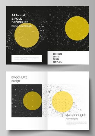 Vector layout of two A4 format modern cover mockups design templates for bifold brochure, flyer, booklet. Science or technology 3d background with dynamic particles. Chemistry and science concept.