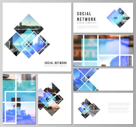 The minimalistic abstract vector illustration of the editable layouts of modern social network mockups in popular formats. Creative trendy style mockups, blue color trendy design backgrounds. Çizim