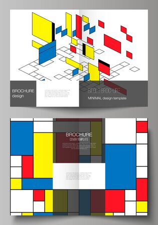 The vector layout of two A4 format modern cover mockups design templates for bifold brochure, magazine, flyer. Abstract polygonal background, colorful mosaic pattern, retro bauhaus de stijl design.