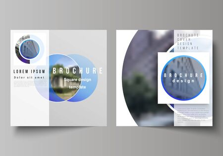 The minimal vector illustration of editable layout of two square format covers design templates for brochure, flyer, magazine. Creative modern blue background with circles and round shapes.