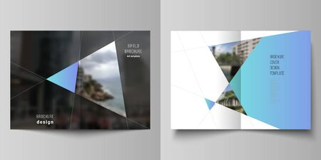 The vector layout of two A4 format modern cover mockups design templates for bifold brochure, magazine, flyer, report. Creative background with blue triangles and triangular shapes. Simple design.