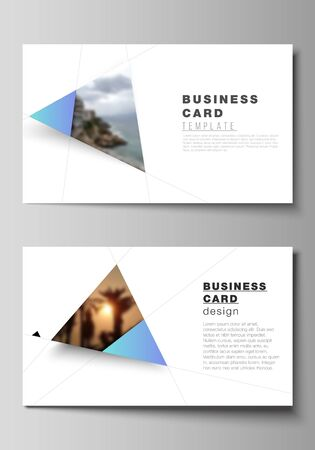 The minimalistic abstract vector layout of two creative business cards design templates. Creative modern background with blue triangles and triangular shapes. Simple design decoration.