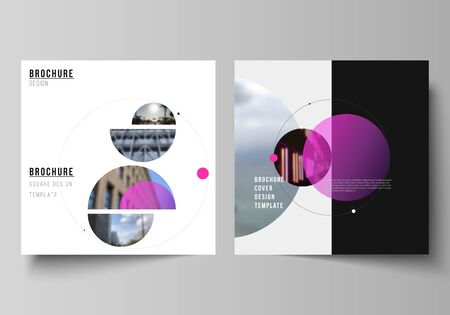 Vector layout of two square format covers design templates for brochure, flyer, magazine.Simple design futuristic concept. Creative background with circles and round shapes that form planets and stars