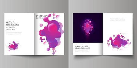 Das Vektorlayout von zwei modernen Covermodellen im A4-Format Designvorlagen für Bifold-Broschüre, Flyer, Broschüre, Bericht. Schwarzer Hintergrund mit flüssigem Farbverlauf, flüssiges rosafarbenes geometrisches Element.
