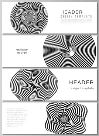 The minimalistic vector illustration of the editable layout of headers, banner design templates. Abstract 3D geometrical background with optical illusion black and white design pattern.