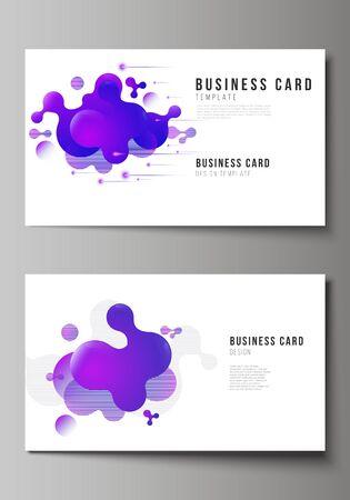 Die minimalistische abstrakte Vektorillustration des bearbeitbaren Layouts von zwei kreativen Visitenkarten-Designvorlagen. Hintergrund mit flüssigem Farbverlauf, flüssiges blaues geometrisches Element.
