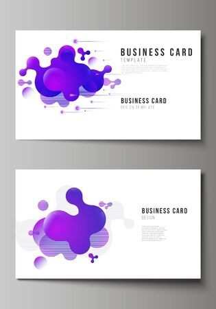 The minimalistic abstract vector illustration of the editable layout of two creative business cards design templates. Background with fluid gradient, liquid blue colored geometric element.