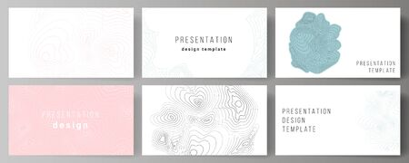 The minimalistic abstract vector illustration of the editable layout of the presentation slides design business templates. Topographic contour map, abstract monochrome background. Çizim