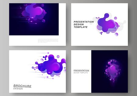 The minimalistic abstract vector illustration of the editable layout of the presentation slides design business templates. Black background with fluid gradient, liquid blue colored geometric element. Foto de archivo - 132122959