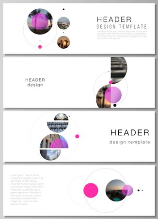 The minimalistic vector layout of headers, banner design templates. Simple design futuristic concept. Creative background with circles and round shapes that form planets and stars. Ilustracja