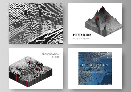 The minimalistic abstract vector layout of the presentation slides design business templates. Big data. Dynamic geometric background. Cubes pattern design with motion effect. 3d technology style. Çizim
