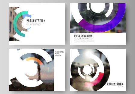 Minimalistic abstract vector illustration of editable layout of the presentation slides design business templates. Futuristic design circular pattern, circle elements forming geometric frame for photo